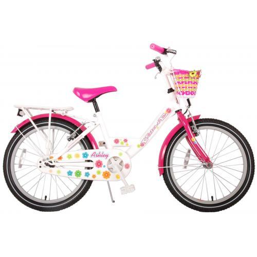 Volare Ashley Kinderfiets - Meisjes - 20 inch - Wit/Roze - twee handremmen