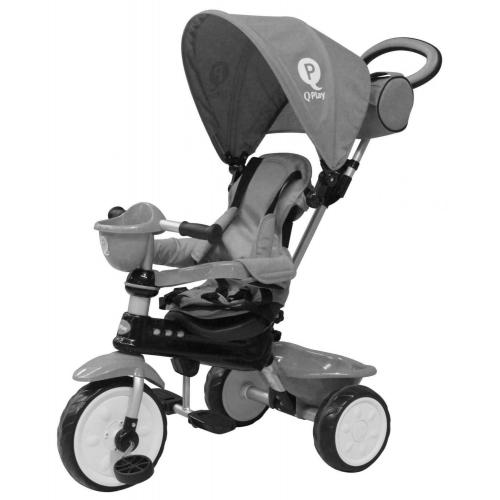 QPlay Driewieler Comfort Grijs 4 in 1
