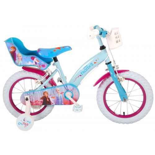 Disney Frozen 2 Kinderfiets - Meisjes - 14 inch - Blauw/Paars - 2 Handremmen