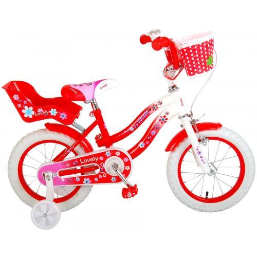 Volare Lovely Kinderfiets - Meisjes - 14 inch - Rood Wit - 95% afgemonteerd