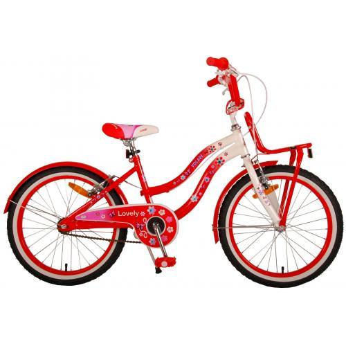 Volare Lovely Kinderfiets - Meisjes - 20 inch - Rood Wit - Twee Handremmen - 95% afgemonteerd