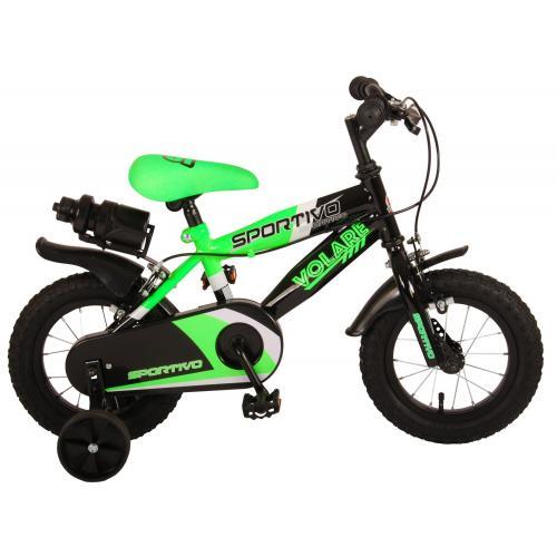 Volare Sportivo Kinderfiets - Jongens - 12 inch - Neon Groen Zwart - Twee Handremmen - 95% afgemonteerd