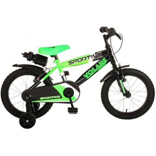 Volare Sportivo Kinderfiets - Jongens - 16 inch - Neon Groen Zwart - Twee Handremmen - 95% afgemonteerd