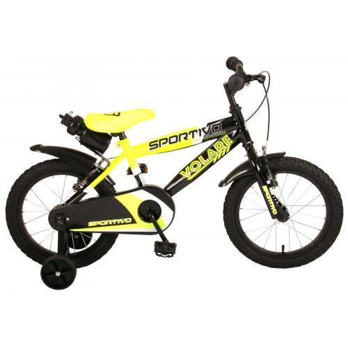 Volare Sportivo Kinderfiets - Jongens - 16 inch - Neon Geel Zwart - Twee Handremmen - 95% afgemonteerd