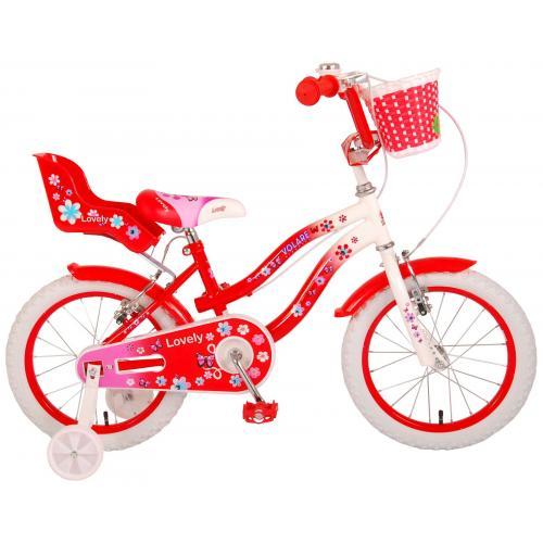 Volare Lovely Kinderfiets - Meisjes - 16 inch - Rood Wit - Twee Handremmen - 95% afgemonteerd