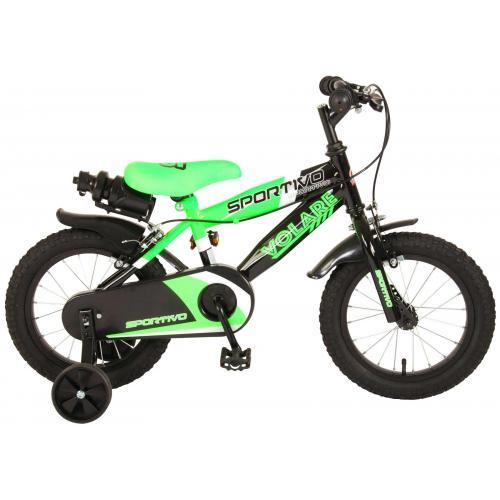 Volare Sportivo Kinderfiets - Jongens - 14 inch - Neon Groen Zwart - Twee Handremmen - 95% afgemonteerd