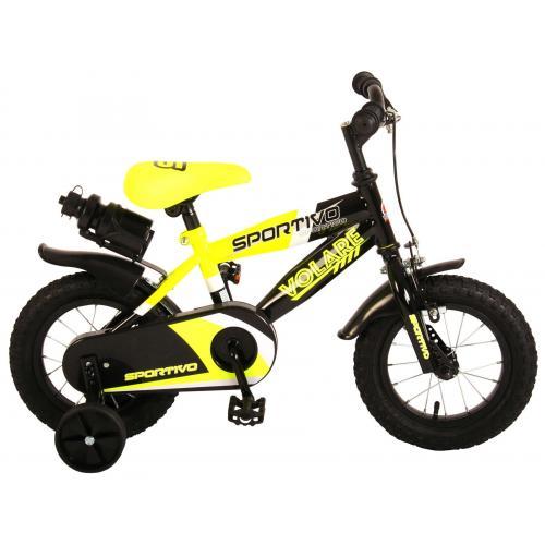 Volare Sportivo Kinderfiets - Jongens - 12 inch - Neon Geel Zwart - 95% afgemonteerd