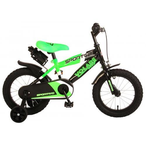 Volare Sportivo Kinderfiets - Jongens - 14 inch - Neon Groen Zwart - 95% afgemonteerd
