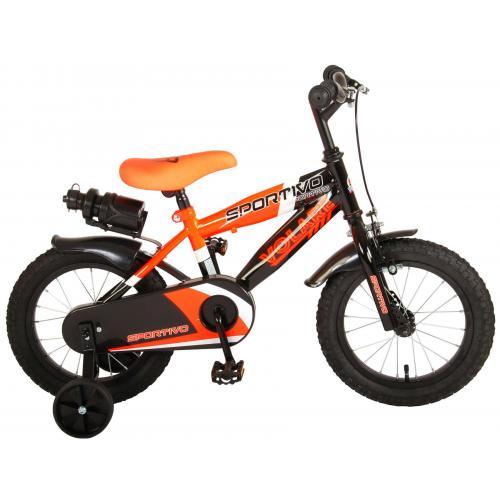 Volare Sportivo Kinderfiets - Jongens - 14 inch - Neon Oranje Zwart - 95% afgemonteerd