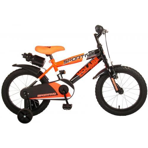 Volare Sportivo Kinderfiets - Jongens - 16 inch - Neon Oranje Zwart - 95% afgemonteerd
