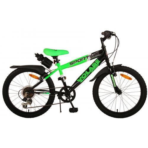 Volare Sportivo Kinderfiets - Jongens - 20 inch - Neon Groen Zwart - 6 versnellingen