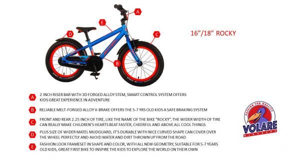 Volare Rocky Kinderfiets - 16 inch - Blauw - 95% afgemonteerd