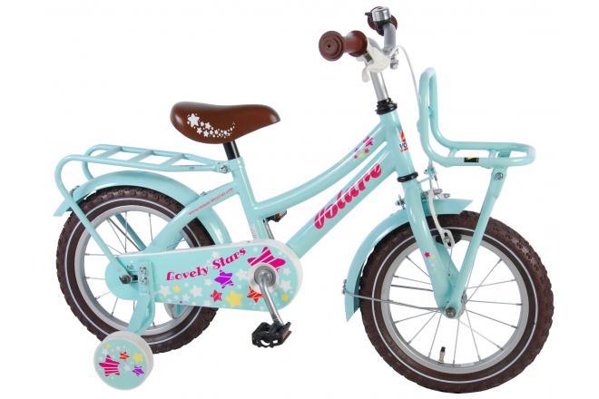 Volare Lovely Stars 14 inch meisjesfiets Mint Blauw 95% afgemonteerd