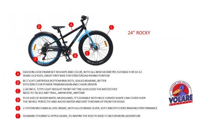 Volare Rocky Kinderfiets - 24 inch - Zwart - 6-S - 95% afgemonteerd - Prime Collection