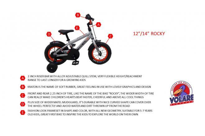 Volare Rocky Kinderfiets - Jongens - 14 inch - Zwart/Blauw - 95% afgemonteerd - Prime Collection